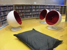 The Birmingham Library - these chairs reportedly direct noise away from the occupant