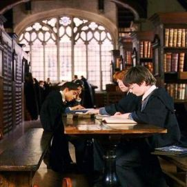 The school library, where Harry researches Nicholas Flamel in Philosopher's Stone