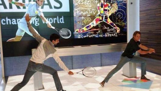 Tennis player Novak Djokovic visits Google company