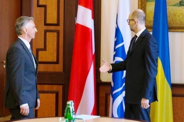 Visiting Swiss president tells Ukraine President he put up the Danish rather than Swiss flag