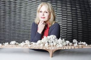 Joanna Lumley with a model of Garden Bridge