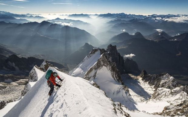 best photography -  a climber on the eastern face of Mont Blanc