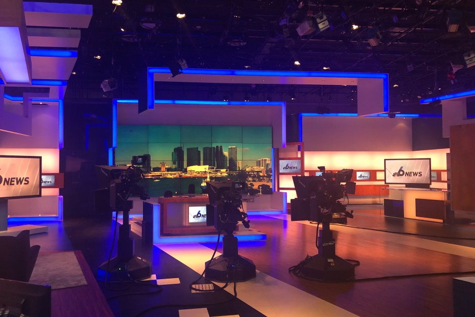 TV studio ready to start news broadcast