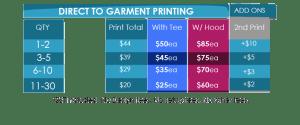 DTG Price list