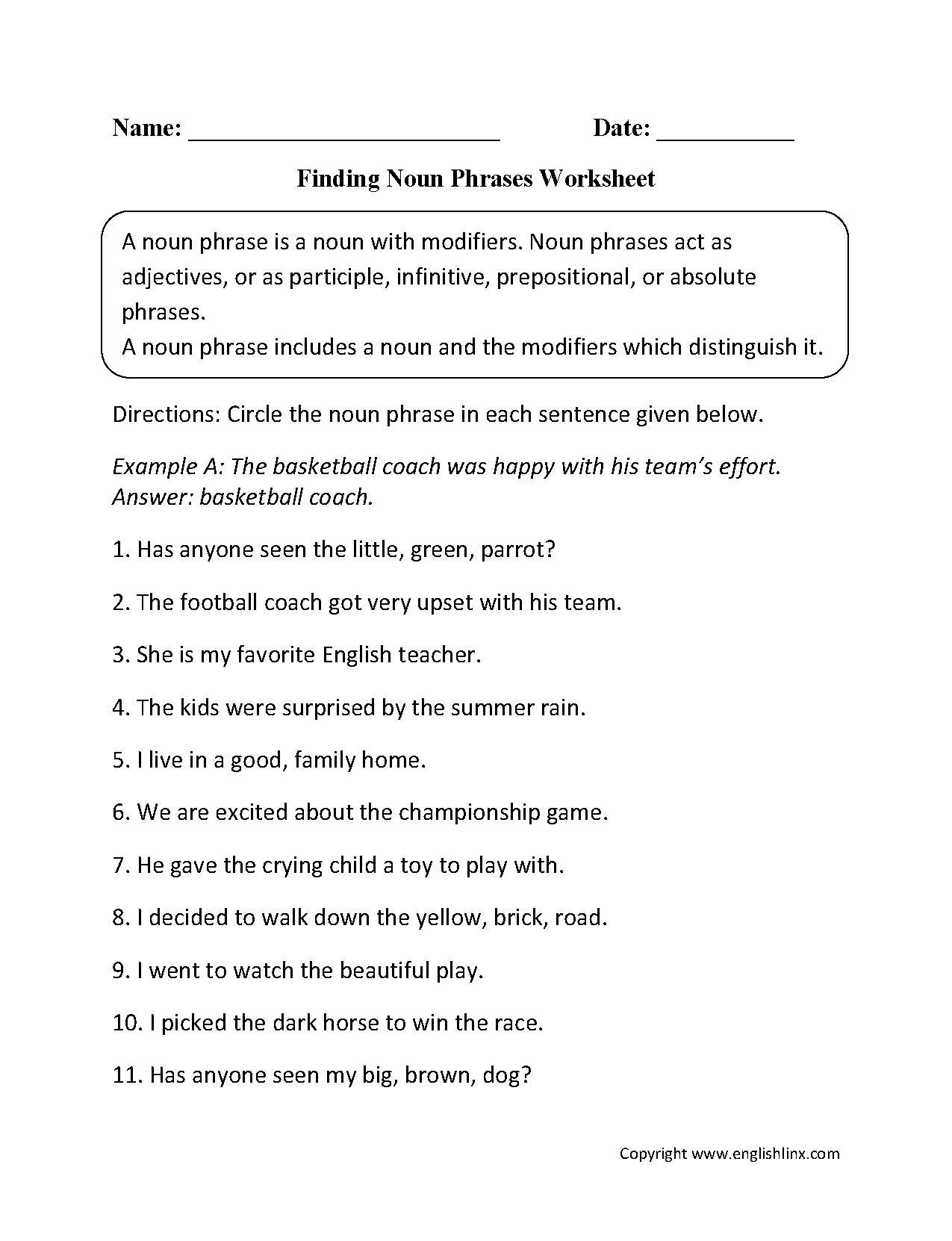 Identifying Verbs Worksheet High School