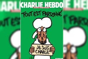 """Esta es la portada de la edición publicada una semana después del atentado, donde nuevamente desafían al islam usando al profeta Mahoma con lágrimas diciendo: """"Todo está perdonado"""""""