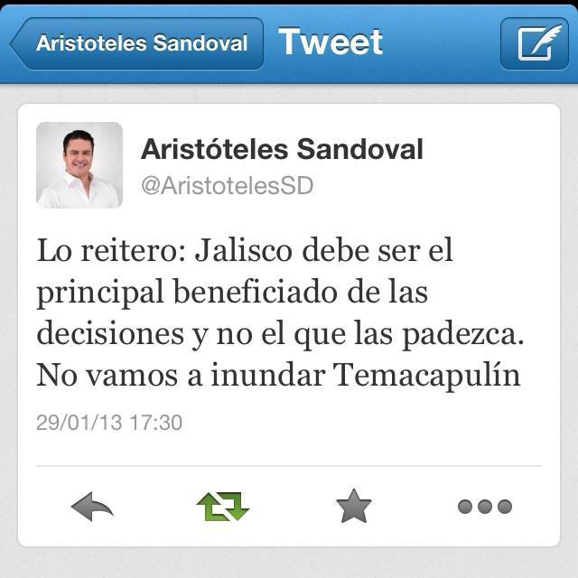 Mensaje de Aristóteles en Twitter el 29 de enero de 2013