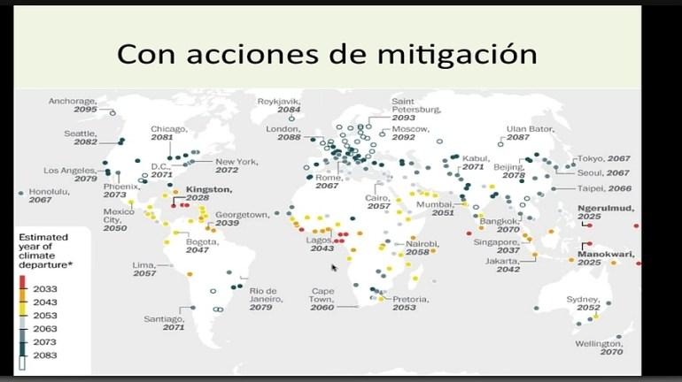 Ciudades con acciones de mitigación contra el cambio climático. Gráfico: http://conexioncop.com/