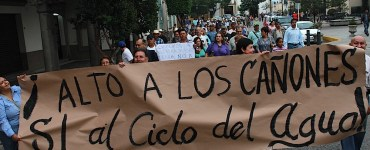 Manifestación en Ciudad Guzmán contra los cañones antigranizo. Foto: Mario Galindo