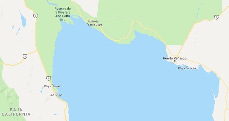 Alto Golfo de California donde habita la totoaba y la vaquita marina. Imagen de Google Maps