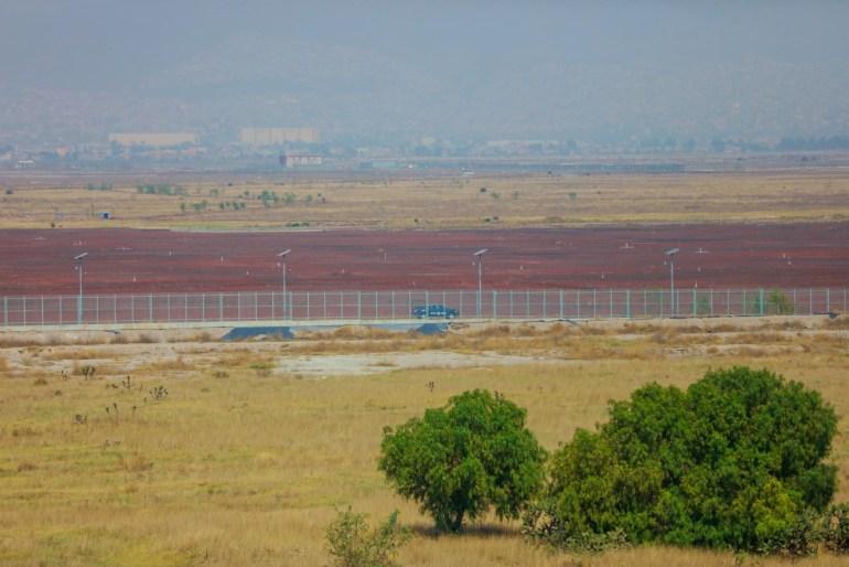 El terreno donde se constuía la plancha del aeropuerto, municipio de San Salvador Atenco. Foto: Daliri Oropeza.