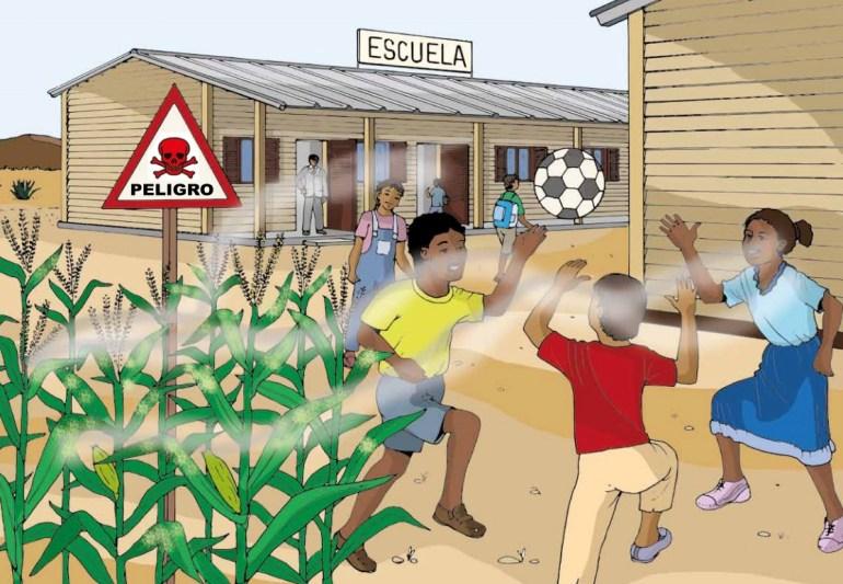 Afectaciones a niños por plaguicidas. Imagen: FAO