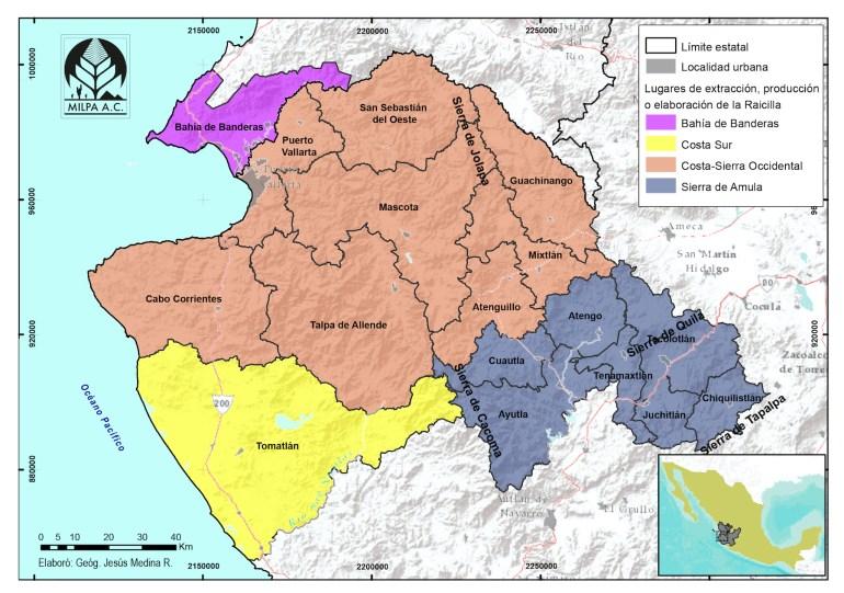 Mapa Denominación de Origen de la Raicilla
