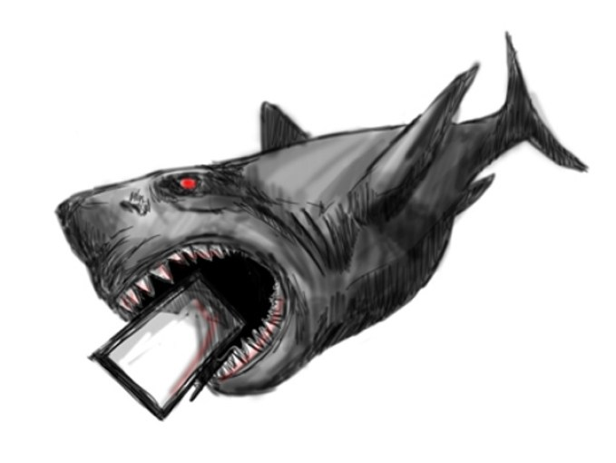 The Discovery Channel betrayed audiences when it aired a program claiming that Megalodon, a shark that has been extinct for 1.5 million years, may still exist. Art by Anthony Liu.