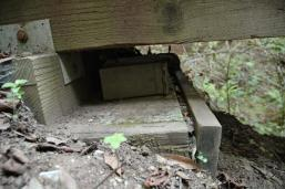 A cache hidden in the Los Tranceros Open Space Preserve, found under a wooden bridge.