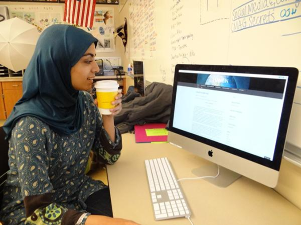 Senior Huda Navaid, founder and editor-in-chief of Haven, regulates and updates the publication's online blog.
