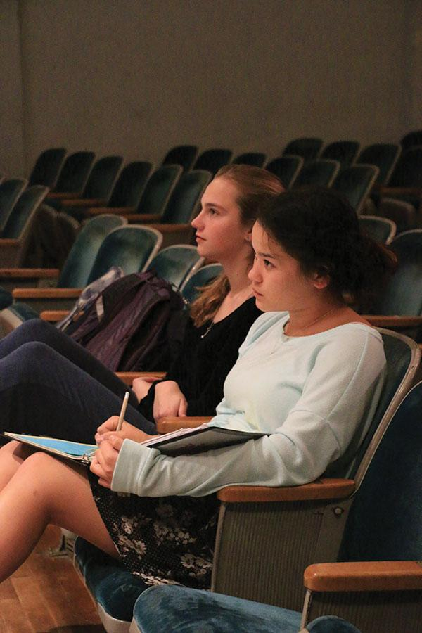 "Stage Manager Hannah Nguyen oversees rehearsal for the upcoming musical, ""Drowsy Chaperone,"" alongside actress Zoe Limbrick."