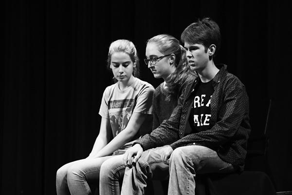 The blue team contemplates which game to play to keep their lead over the red team. The blue team consisted of (from right to left): sophomores Joey Kellison-Linn and Andrea O' Riordan, and junior Sophie Swezey.