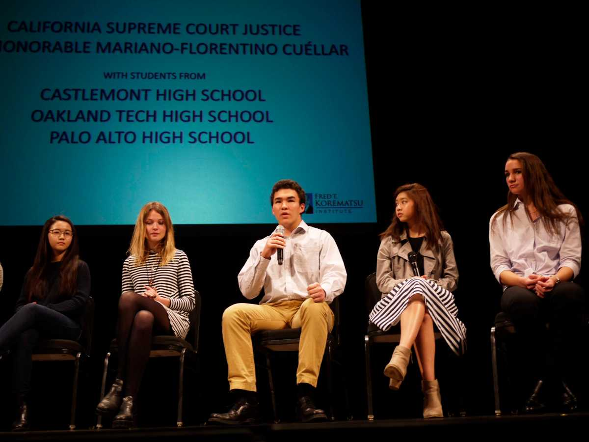 Paly students Teresa Chen, Cici Risse, Sean Romeo, Serena Nguyen, and Maya Lathi speak at the Fred Korematsu Day event in San Fransisco.