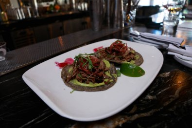 Their tortillas are hand made everyday, something you won't find in many restaurants. Huitlacoche, a corn truffle considered a Mexican delicacy, is added to the masa. Their tortillas are added to their duck confit tacos or can be ordered as a side dish.