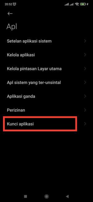mengunci aplikasi di HP Xiaomi