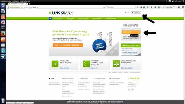 Log in of registreer binckbank.be