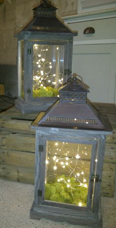 Winter woodland wedding inspiration lanterns moss fairy lights taupe wooden crate rustic barn Verdigris Event design Wick Farm Bath Party Decorations Props
