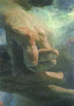Szikla, ilaj, vászon, 140x110 cm, 2006