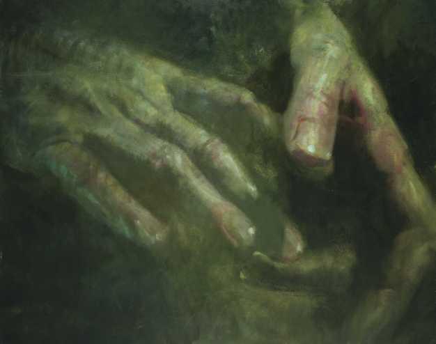 Átadás, olaj farost, 110 x140 cm, 2007