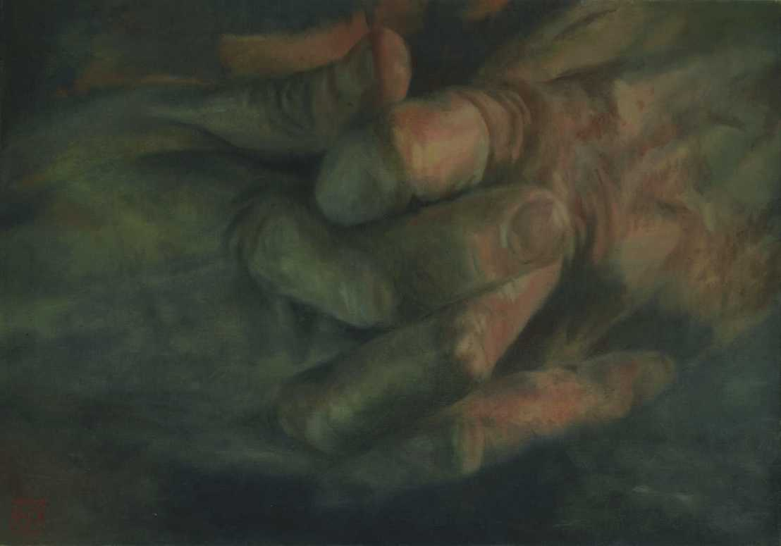 Szövetség, olaj, vászon, 70x100 cm, 2004