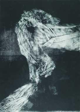Éjjeli látogató III., monotypia, 70x50 cm, 1990