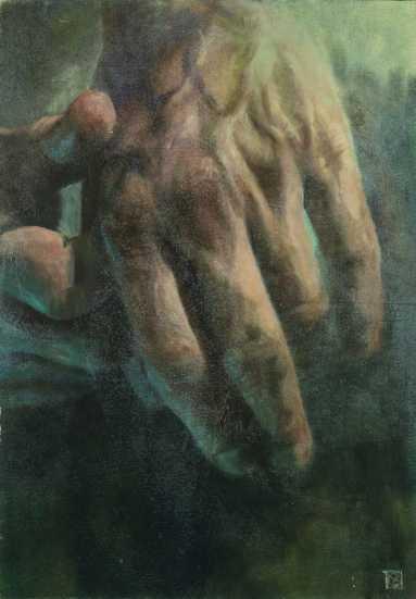Nyugvó, olaj, farost, 100x70 cm, 2004