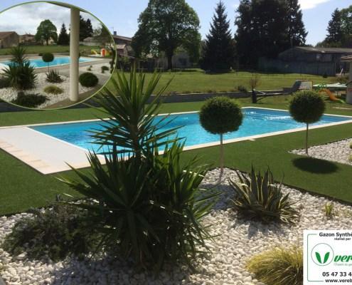 pose pelouse artificielle autour d'une piscine en Gironde