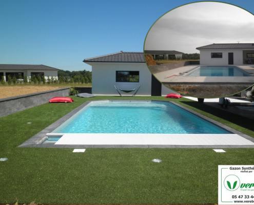 le gazon synthétique autour d'une piscine collé sur une dalle béton