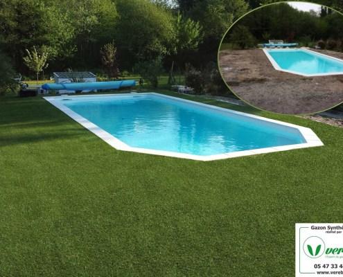 le gazon synthétique autour d'une piscine remplace la terrasse traditionnelle