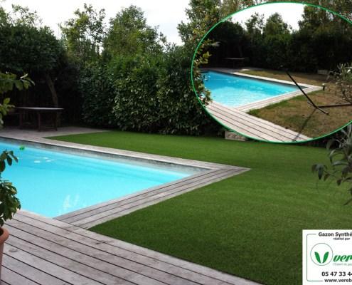 la pelouse artificielle autour de la piscine à Merignac posé par Verébo
