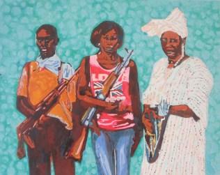 """""""THREE WOMEN"""" Diese drei Frauen haben gerade, zusammen mit anderen Frauen, eine Horde von Boko-Haram-Terroristen von ihrem Dorf in Nigeria vertrieben. Ihr Foto ziert einen diesbezüglichen Artikel auf SPIEGEL ONLINE von 2014. [ Da ich nicht weiß, wie die drei Frauen heißen, weiß ich auch nicht, ob sie auf Facebook sind ]"""