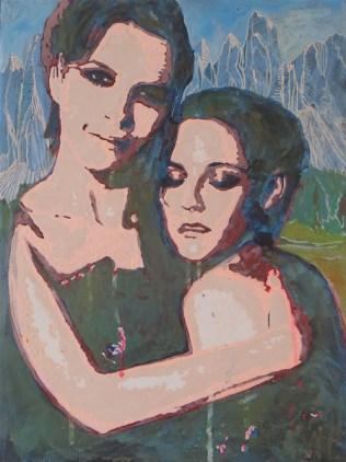 """""""MALOJA SNAKE (Juliette & Kristen)"""" Juliette Binoche und Kristen Stewart, gemeinsam in dem Film """"Clouds of Sils Maria"""" von 2014. Die """"Maloja-Schlange"""" ist ein Wolken-Phänomen in einer Schweizer Bergregion: bei einer bestimmten Wetterlage quellen die Wolkenmassen über den Maloja-Pass und schieben sich wie eine Schlange in das dahinter liegende Tal. In dem Film gibt es eine sehr lustige Szene, wo Kristen Stewart versucht, Juliette Binoche zu erklären, weshalb sie einen bestimmten Science-Fiction-Film, ungeachtet dessen Kommerzialität, dennoch beachtenswert findet. Juliette Binoche glaubt ihr kein Wort und prustet los vor Lachen. [ Wenn Juliette Binoche """"in Echt"""" so ist wie im genannten Film, dann ist sie nicht auf Facebook. ]"""