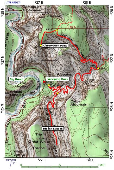 Trail map to Observation point