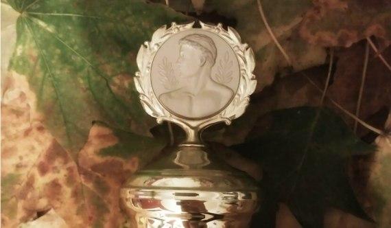 Pokal an Herbstlaub_Staunen_Kind