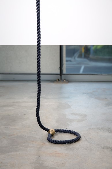Deb Mansfield, Increasing levels of collective denial until it's all over, concrete parts, navy marine rope, bronze electrics, dimensions variable, 2016. Image by Document Photography.
