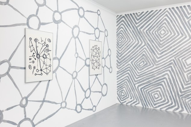 D_O_T offsite exhibition. Artwork by Martha MacDonald (left) & Maureen Poulson (right) set in linework installation. Image by Doqment.