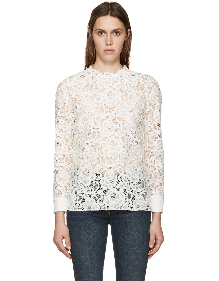 SAINT LAURENT Ivory Lace Blouse