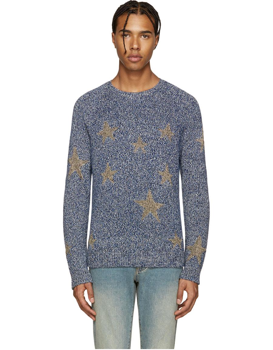 VALENTINO Navy & Gold Stars Sweater