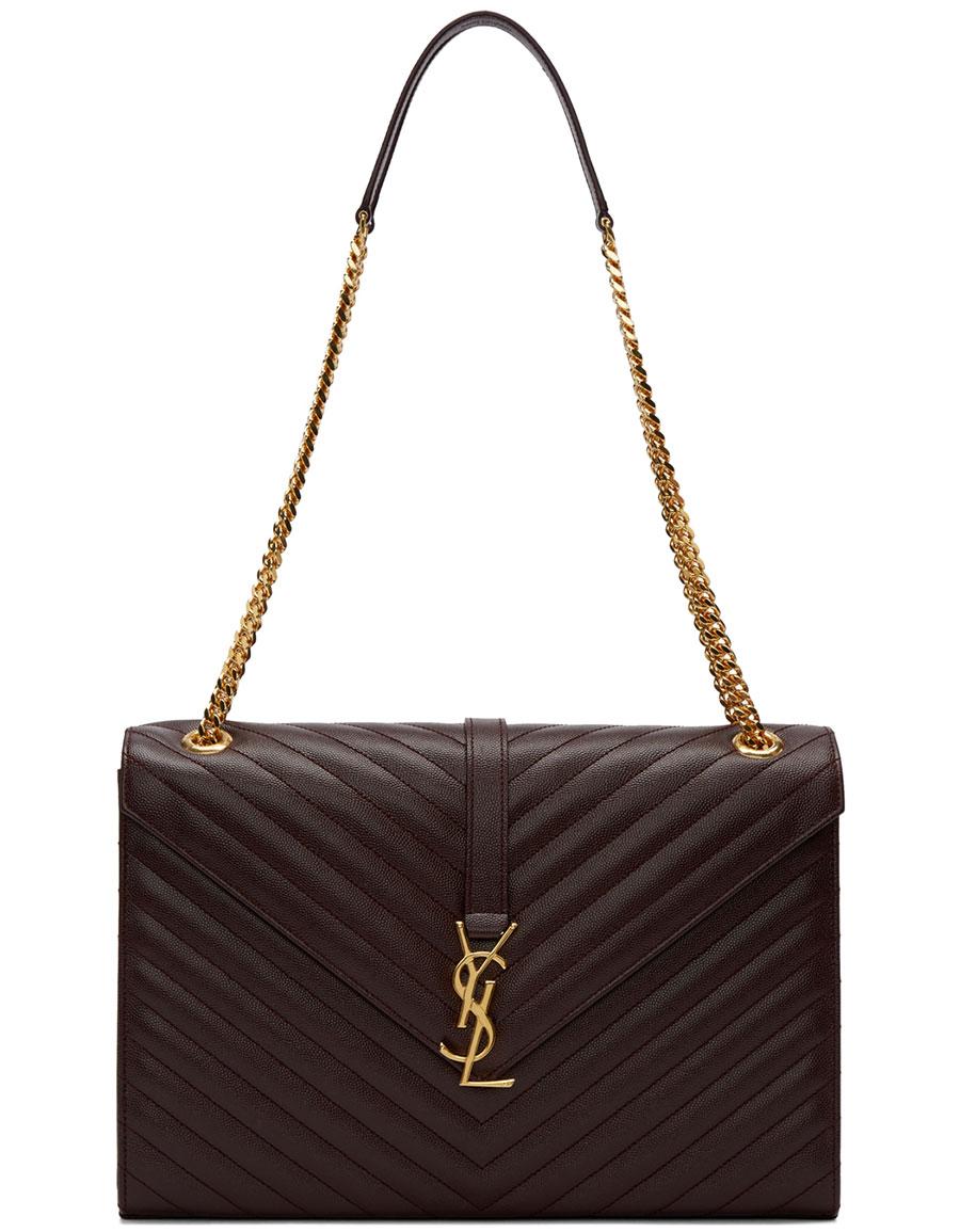 SAINT LAURENT Burgundy Quilted Large Monogram Chain Bag