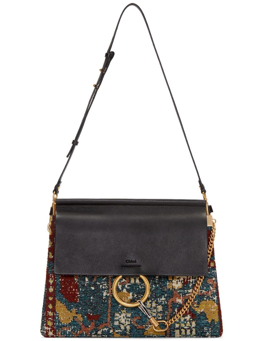 CHLOÉ Black Tapestry Medium Faye Bag
