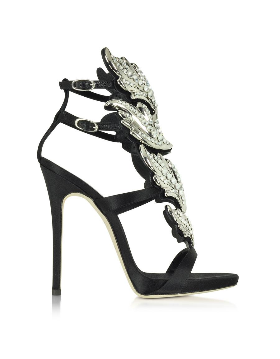 GIUSEPPE ZANOTTI Black Suede Sandal w/Crystals