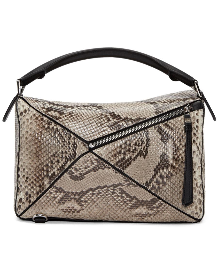 LOEWE Beige Python Puzzle Bag