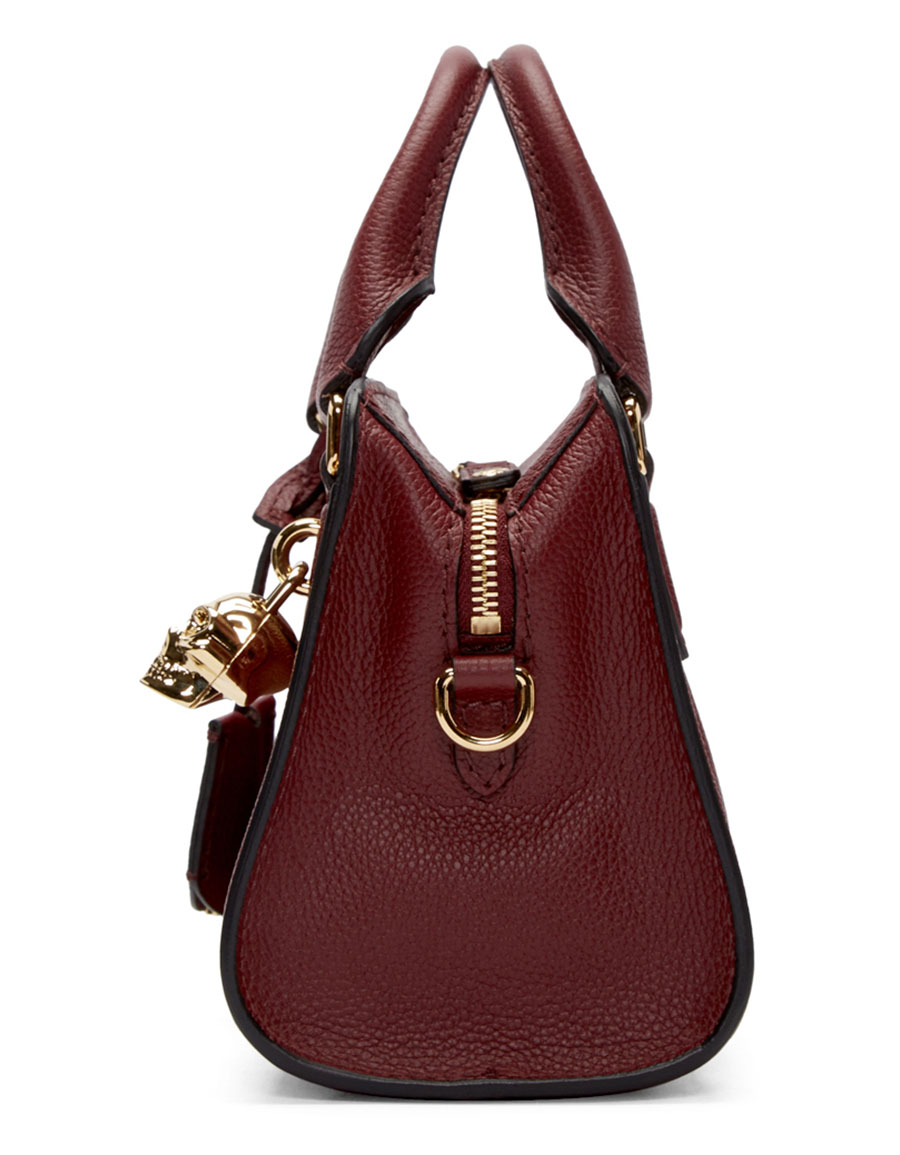 ALEXANDER MCQUEEN Red Leather Mini Skull Padlock Tote