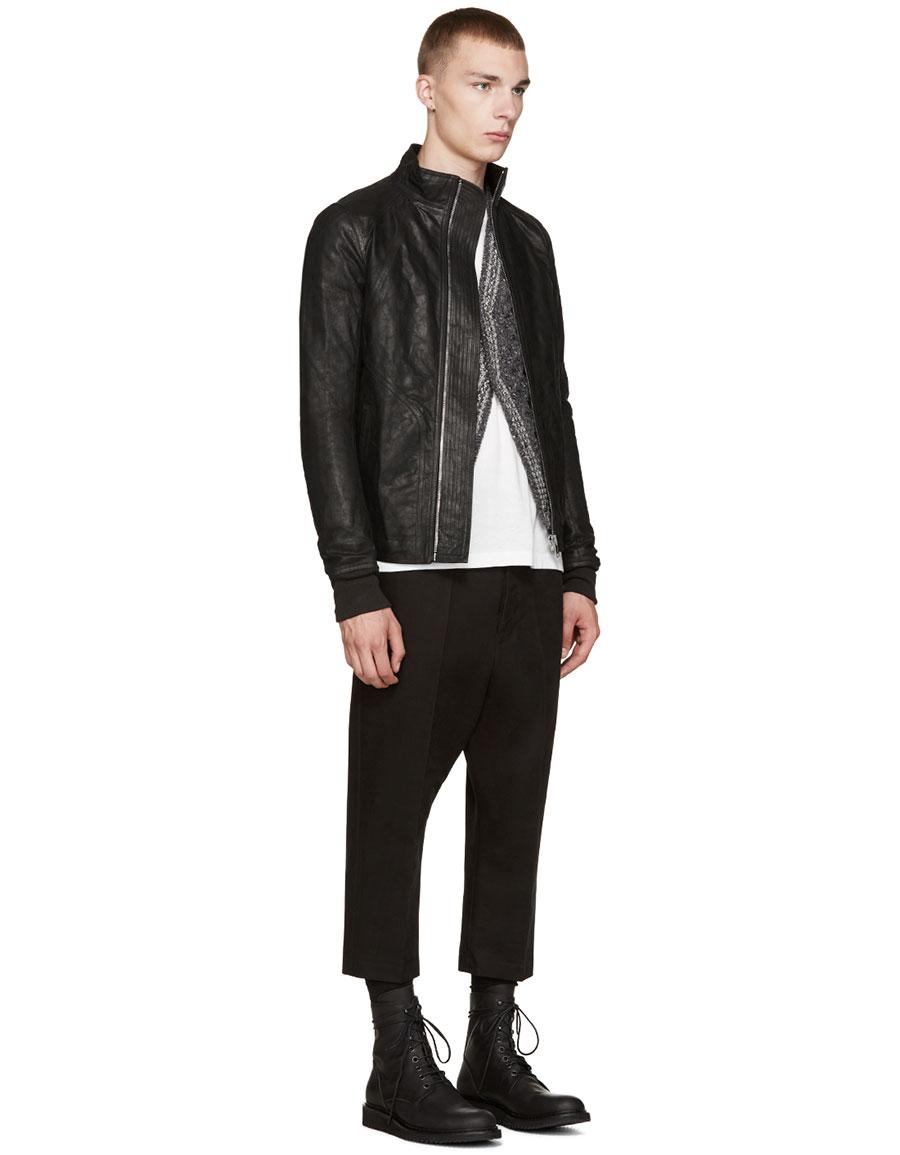 RICK OWENS Black Intarsia Leather Jacket